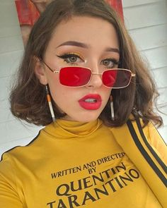 52b3dce5e5 Street styles simple casual fashion big red square sunglasses with metal  picture frame for cool women. Cozy simple earrings and yellow shirt in this  fall ...
