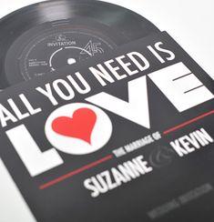 Vinyl 7 inch Record Wedding Invitations