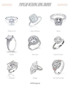 Diamond Rings : Popular Wedding Engagement Ring Brands: Tiffany & Co, Harry Winston, Tacori, Car. - Buy Me Diamond Harry Winston, Engagement Ring Brands, Wedding Engagement, Wedding Rings, David Yurman, Bling Bling, Cartier, Ring Designs, Dream Wedding