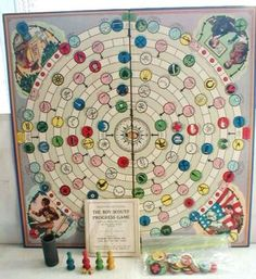 VINTAGE PARKER BROTHERS BOY SCOUTS' PROGRESS GAME 1926 BOARD GAME  I would love to find one of these games. I think it would look fantastic framed on a wall.