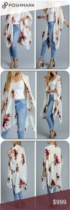 """HOT Ivory Floral Kimono Coverop Wrap O/S Wrap yourself in bohemian style & comfort in this stunning chic floral kimono. Open front with arm holes. Pair with tank & skinnies or works perfect as a swim beach cover up. Available in ivory with rust floral print. 38"""" x 46"""" 100% viscose. One Size Fits Most Accessories Scarves & Wraps"""