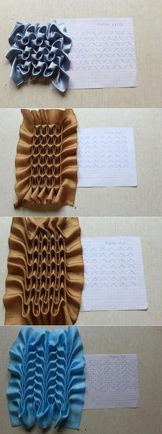 Ideas origami fashion fabric manipulation pattern fashion how to make Ideas origami fashion fabric manipulation pattern Sewing Pillow Patterns, Smocking Patterns, Sewing Pillows, Fabric Patterns, Embroidery Fabric, Embroidery Fashion, Hand Embroidery Patterns, Embroidery Stitches, Couture Embroidery