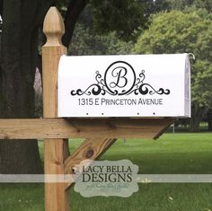 Ever wander around a neighborhood craning your neck to find an address on a house? Make finding your castle easier with this ornate mailbox sign that is personalized with your family initial and street address. The size listed here is perfect for the standard mail box size, and most customers purchase 2 decals, one for each side of their mailbox. Lacy Bella Designs is a quick, and inexpensive way to increase your curb appeal! See more designs at www.lacybella.com