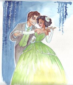 Tiana in her designer princess dress (which isn't that different from her actual princess dress but nvm that because it's still lovely! Watercolours, Princess and the Frog (c) Disney --To clarify. Designer fashion II by TaijaVigilia Disney Fan Art, Disney Love, Disney Magic, Disney Pixar, Disney Characters, Disney Stuff, Walt Disney, Disney Artwork, Disney Nerd