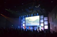 Re: - Church Stage Design Ideas - Scenic sets and stage design ideas from churches around the globe. Church Interior Design, Church Stage Design, Stage Lighting, Lighting Ideas, Stage Set, Staging, Design Ideas, Set Design, Stage Backdrops