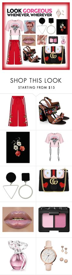 """""""Tokoyo"""" by giagiagia ❤ liked on Polyvore featuring Gucci, Tabitha Simmons, NARS Cosmetics and FOSSIL"""