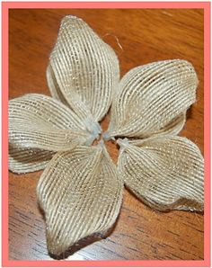 That's So Cuegly: Craft Concoction Friday! {Burlap-ish} That's So Cuegly: Craft Concoction Friday! Burlap Ribbon Crafts, Burlap Crafts, Burlap Flowers, Diy Flowers, Fabric Flowers, Paper Flowers, Material Flowers, Wreath Burlap, Flower Diy