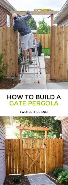 Update your fence by adding a pergola over a gate.