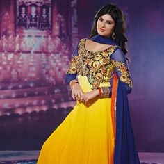 Yellow Faux Georgette Abaya Style Churidar Kameez
