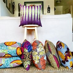 Ankara fabric pillows create a home that's authentically you. Ethnic Bedroom, Peaceful Home, Bohemian Interior, Ankara Fabric, Neck Pillow, Cushion Fabric, Eclectic Decor, Red And Grey, Fabric Decor