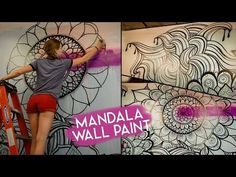 Mandala Wall Art | NO STENCILS - YouTube Try a chalkboard paint wall and chalk version for wall behind my door so it is less permanent and more living and dynamic