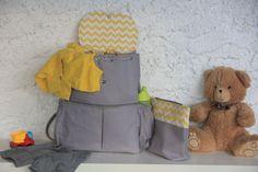 Gri Sarı Anne Bebek bakım sırt çantası ve el çantası Zet.com'da 170 TL