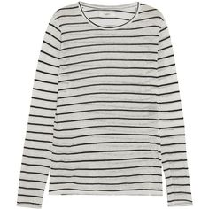Étoile Isabel Marant Aaron striped slub linen-blend jersey top (9,540 PHP) ❤ liked on Polyvore featuring tops, jersey top, striped jersey top, striped tops, striped jersey and net tops