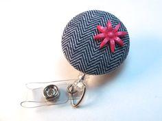 Herringbone and PInk Retractable Badge Reel  Name by PoppyandPippa, $7.00