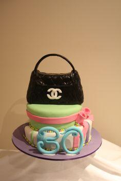 1st Attempt at Topsy Turvy Cake - Rice Krispy/Gumpaste Chanel Handbag Topper