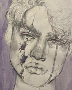 Sad Sketches, Sad Drawings, Art Drawings Beautiful, Dark Art Drawings, Art Drawings Sketches Simple, Colorful Drawings, Depression Art, Ideas