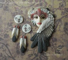 "CABOCHON Porcelain ""The Rabbit in the Moon Crane"" Shapeshifter, Moon cabs and Crane Feathers by Laura Mears"