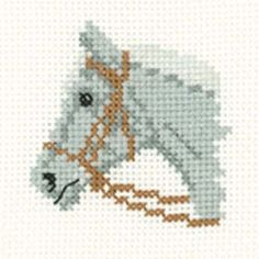 Grey Pony - MiniKits Cross Stitch Kit from Heritage Crafts Cross Stitch Horse, Mini Cross Stitch, Beaded Cross Stitch, Cross Stitch Animals, Cross Stitch Embroidery, Cross Stitch Designs, Cross Stitch Patterns, Cross Stitch Beginner, Cross Stitch Numbers