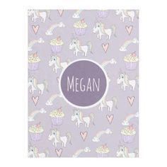 Girl's Doodle Unicorn Pattern Name Children's Fleece Blanket - pattern sample design template diy cyo customize