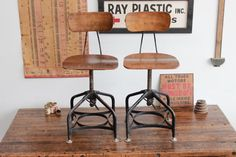 Pair (2) of Vintage Industrial Toledo UHL Draftsman Chairs, Refinished in Walnut