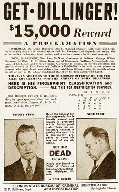 Wanted Poster for John Dillinger