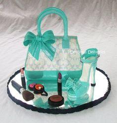 Tiffany Inspired Coach Purse Cake with Platform Shoe. I want this cake! Pretty Cakes, Beautiful Cakes, Amazing Cakes, Coach Purse Cakes, Coach Purses, Coach Handbags, Coach Bags, Make Up Cake, Love Cake