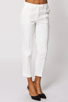 Cream Textured Cigarette Trousers