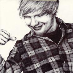 ballpoint pen portrait drawing of ed sheean