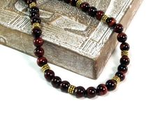 Sherry Berry Delight Men's Red Tiger's Eye Necklace - 22 inches by  Designed By Audrey - Handmade Jewelry on ArtFire - $44.00