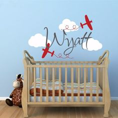 Personalized Name Airplane Clouds Decal For Nursery Decor - Boys Room Airplane Decal Kid's Room Decor Vinyl Wall Sticker D-81