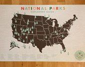 National Parks Checklist Map Print on Canvas. $115.00, via Etsy.
