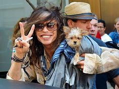 "Steven Tyler Loves His Yorkie & Morkie! ""Dogs have a lot of love… They sleep right next to my neck."""