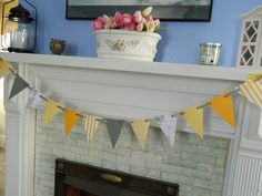 Yellow and Gray Paper Pennant Wedding Garland Photo Prop Nursery Banner Bridal Shower Decor Baby Shower Decoration. $9.75, via Etsy.