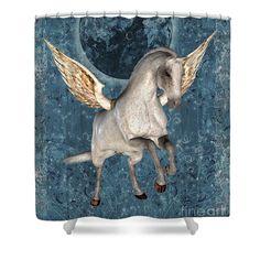 Flying Pegasus horse fantasy animal shower curtain.  Design by Susan.
