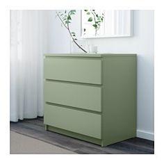 IKEA - MALM, Ladekast 3 lades, lichtgroen, , De woning moet een veilige plek zijn voor het hele gezin. Daarom wordt er wandbeslag meegeleverd waarmee je de ladekast aan de muur kan bevestigen.De lades zijn makkelijk te openen en te sluiten. Met blokkeerstuk.Wil je de binnenkant op orde houden, dan kan je het geheel completeren met de SKUBB bakken set van 6.