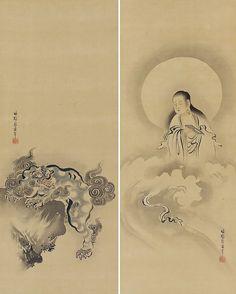 Shishi Guardian Lion and Monju Bosatsu Personifies Wisdom by Sasaki Sengen…
