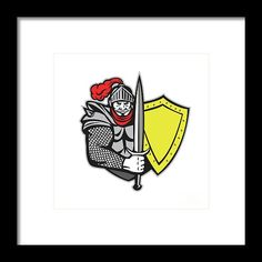 Knight Full Armor Open Visor Sword Shield Retro Framed Print by Aloysius Patrimonio.  Illustration of a knight in full armor with open visor holding sword and shield viewed from the front set on isolated white background done in retro style. #illustration #KnightFullArmor