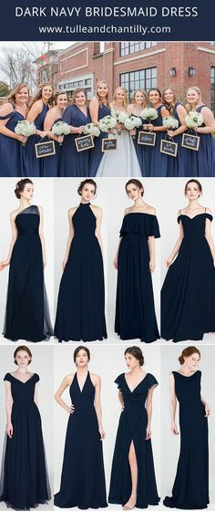 dark navy wedding color ideas with bridesmaid dresses 2021#wedding #weddinginspiration #bridesmaids #bridesmaiddresses #bridalparty #maidofhonor #weddingideas #weddingcolors #tulleandchantilly Fall Bridesmaid Dresses, Affordable Bridesmaid Dresses, Wedding Bridesmaids, Junior Bridesmaids, Wedding Dresses, Navy Wedding Colors, Festival Wedding, Dark Navy, Maid Of Honor
