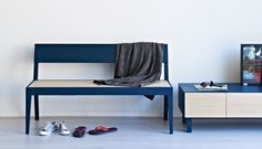 Buy Cubo Blue Bench with Wooden Seat online by Another Brand from Furntastic at unbeatable price. Bar Furniture, Foot Rest, Kitchens, Bench, Interior, Blue, Stuff To Buy, Home Decor, Decoration Home