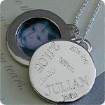 A very modern take on a locket. I could engrave birth statistics on the front and keep a photograph on the back