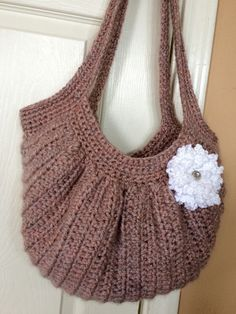Crochet Hobo Purse lined with fabric, Lined Crochet Purse, Mauve Crochet Purse by ACozyPlace on Etsy https://www.etsy.com/listing/225702203/crochet-hobo-purse-lined-with-fabric