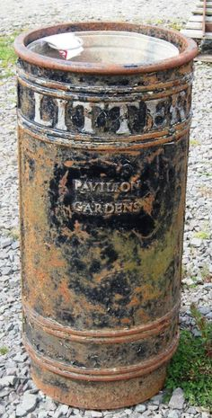 "Vintage cast iron ""LITTER"" bin from the Pavilion Gardens, UK."