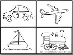Missing Vehicle Game Make 3 copies of a boat, car, airplane and train clipart on 3 different colors of cardstock. Lay t. Transportation Theme Preschool, Preschool Themes, Preschool Lessons, Preschool Activities, Preschool Alphabet, Preschool Pictures, Pre School, Kindergarten, Montessori