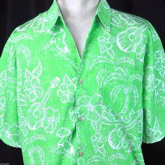 Margaritaville Parrot Head Mens Hawaiian Shirt XL Palms Green Jimmy Buffett USA #EMDesignInc #Hawaiian