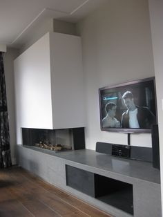 DRU - gashaard - hoekhaard - natuursteen plateau - audio opbergen - tv - interieur bouw