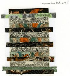 Collage journal entry from November 3, 2008 by Mountain Fine Art. The collage is made of paper strips that illustrations from old books and joss paper.