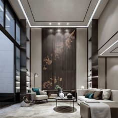 Bishan Green Island Villa by Kevin Hu « HomeAdore Luxury Homes Interior, Best Interior Design, Home Design, Design Ideas, Living Room Green, Formal Living Rooms, Living Room Decor, Island Villa, Luxury Living
