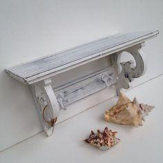 Shabby Chic White Shelf With Two Hooks Bathroom Nursery Shelf on Etsy, $45.00