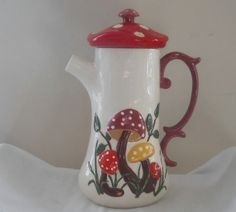 mushroom kitchen decor   Mushroom Ceramic Pitcher Ceramics and Pottery Retro Kitchen Decor 60s ...