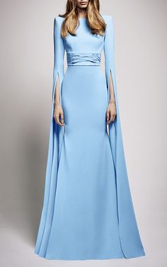 The Courtney Satin Crepe Long Sleeve Gown by ALEX PERRY for Preorder on Moda Operandi